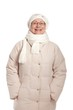 Happy old woman in warm clothes