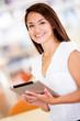 Woman with an e-book reader