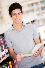 Male student at the library