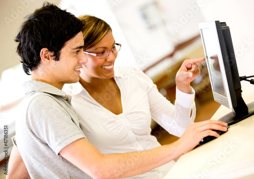 Students using a computer