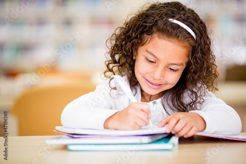 Girl studying at school