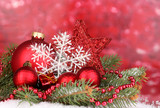 Fototapety Christmas decoration on red background
