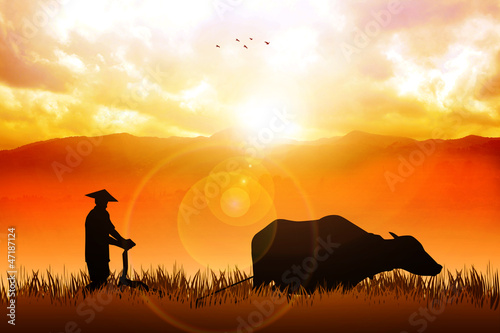 Illustration of a traditional farmer plowing the fields
