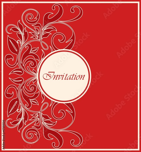 Red invitation vintage card.
