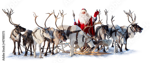 Santa Claus and his deer