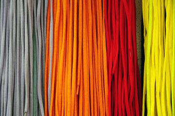 colorful ropes for shoes (as a background)