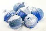 Blue christmas balls with snow