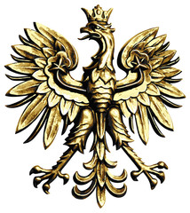 Poland eagle on white background