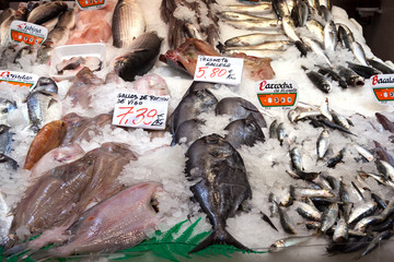 A variety of spanish fish on a fishmonger stall, Madrid market