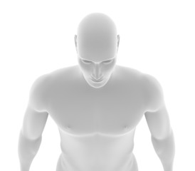 Robotic man with human skin over white