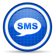 sms blue glossy icon on white background