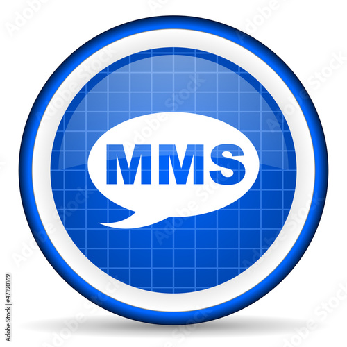 mms blue glossy icon on white background