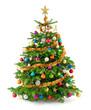Leinwandbild Motiv Dichter, bunt geschmückter Weihnachtsbaum