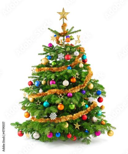 Leinwanddruck Bild Dichter, bunt geschmückter Weihnachtsbaum