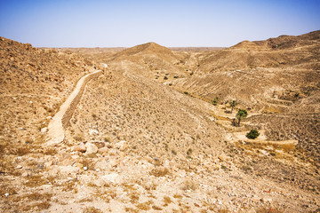 Stony desert in the region of Matmata, Tunisia