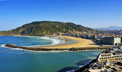 Zurriola Beach in San Sebastian, Spain