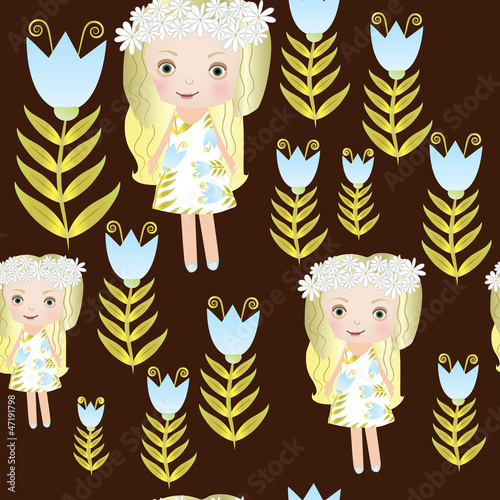 Seamless small girl with tulip vector illustration pattern