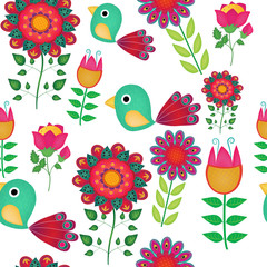 Seamless naive bird and flowers vector repeat background