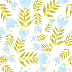 Seamless blue and gold bell-flower repeated background