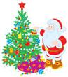 Santa Claus decorating Christmas tree