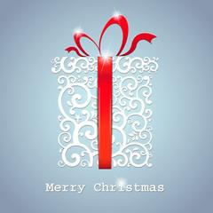 christmas card. gift box with ribbon. Vector Illustration