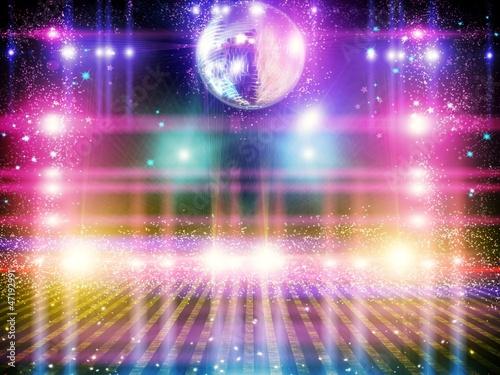 Canvas Licht, schaduw Abstract disco ball_Background with lights.