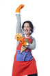 Housekeeping woman mimicking a bullfighter