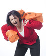 Woman suffering from her excess luggage