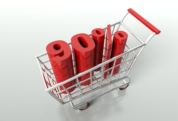 Shopping cart and ninety percent discount