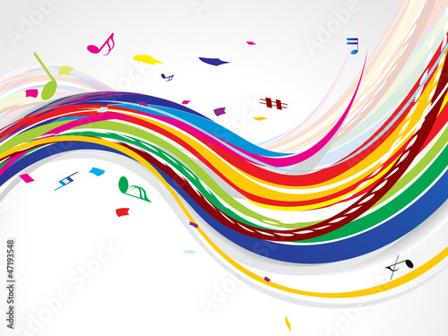 abstract colorful wave background with music