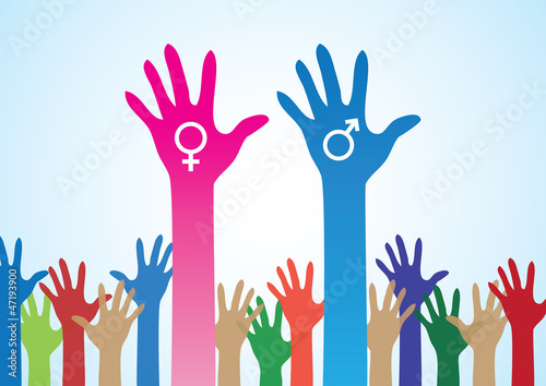 Colourful Hands with Male and Female Symbol -  Various Concepts