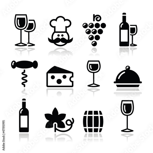 Wine icons set - glass, bottle, restaurant, food
