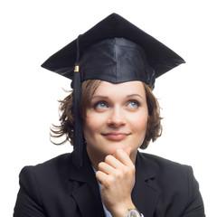 Nachdenkliche Absolventin