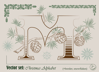 Vector Initials of the English Christmas alphabet