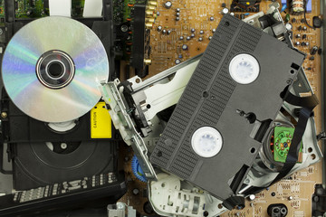 Old broken DVD player and VHS player