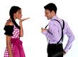 Fröhliches Bayerisches Paar mit Lederhosen und Dirndl