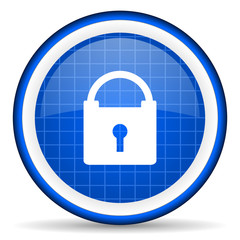 protect blue glossy icon on white background