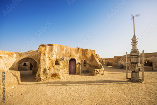 Foto op Aluminium Tunesië Star wars movie decoration in the Sahara Desert, Tunisia