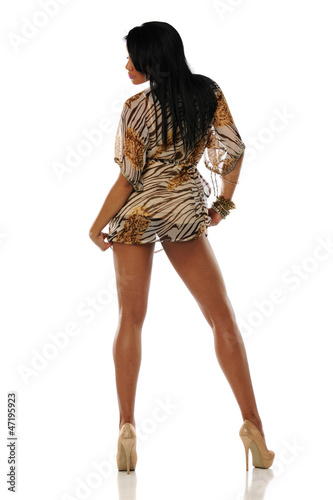 Black Woman wearing a short dress