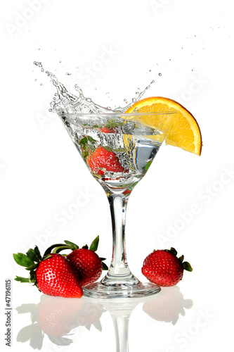 Martini Glass with wedge of lime and strawberries