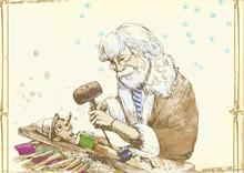 Geppetto rzeźbi z drewnianym-bloków Jego syn Pinokio