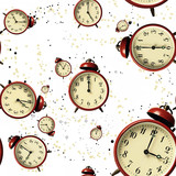 Vintage Scattered Bell Clocks Seamless Wallpaper With Spots - 47197585