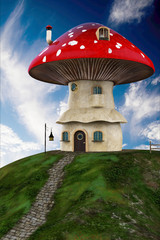 mashroom house blue sky close up