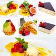 Set of restaurant dishes or Collage of restaurant dishes (desser