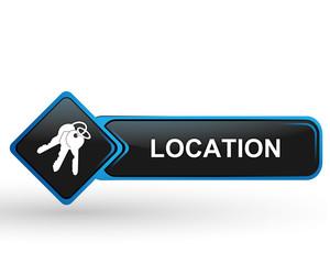 location sur bouton web carré design bleu