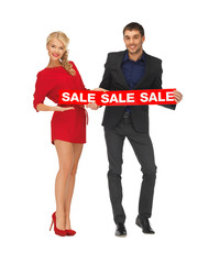 man and woman with sale sign