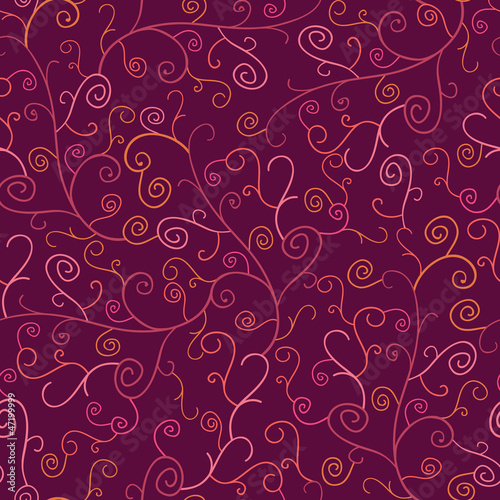 Abstract Swirl Plants Seamless Pattern Background with hand