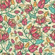 Vector Colorful flowers and leaves elegant seamless pattern
