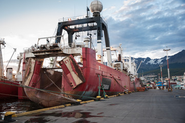 Corrosian ship docked in Ushuaia, Argentina