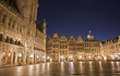 Brussels - The main square and Town hall in evening.
